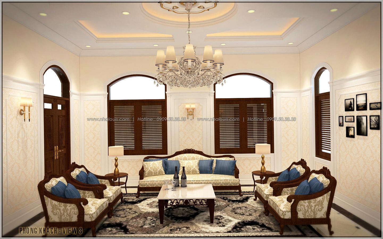 Mẫu thiết kế biệt thự 1 tầng 3 phòng ngủ kiểu Pháp đẹp tại xứ dừa Bến Tre