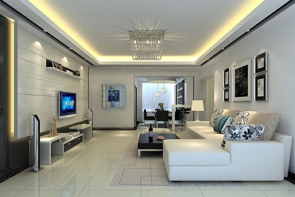 Mẫu thiết kế phòng khách màu trắng bừng sáng không gian nhà - 01