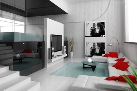 Mẫu thiết kế phòng khách màu trắng bừng sáng không gian nhà - 02