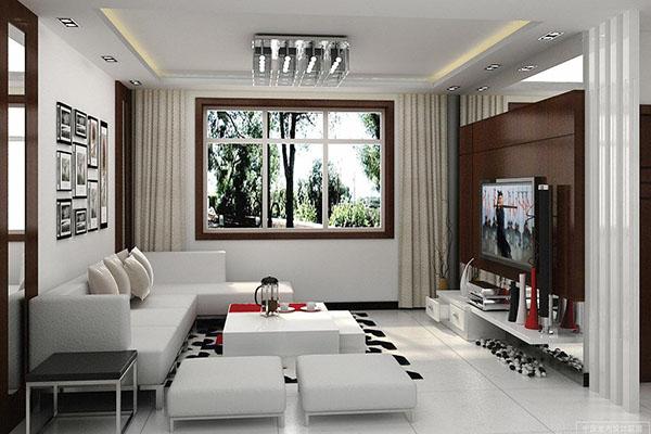 Mẫu thiết kế phòng khách màu trắng bừng sáng không gian nhà - 03