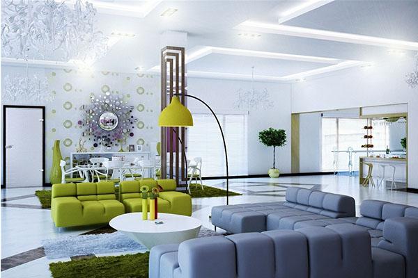 Mẫu thiết kế phòng khách màu trắng bừng sáng không gian nhà - 04
