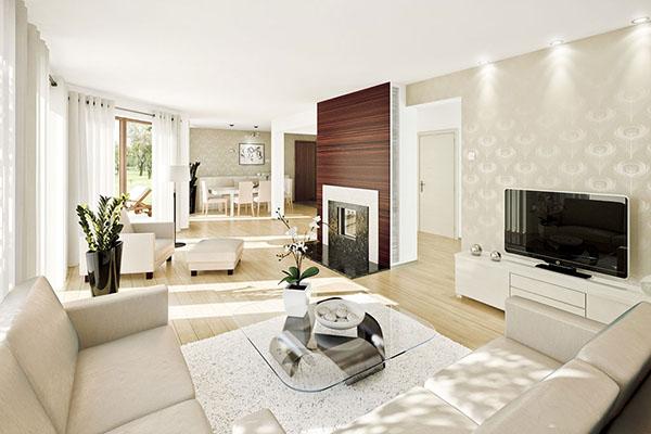 Mẫu thiết kế phòng khách màu trắng bừng sáng không gian nhà