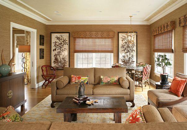 Phòng khách biệt thự theo phong cách Grasscloth đẹp trang nhã và tinh tế - 01