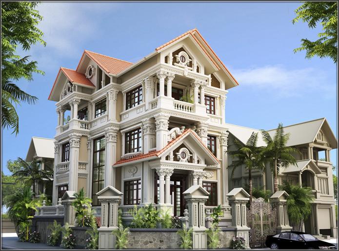 Tròn mắt ngắm nhìn mẫu biệt thự cổ điển 3 tầng kiểu Pháp cực chất