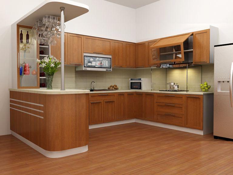 Không gian thêm tiện nghi với phòng bếp kết hợp quầy bar mini