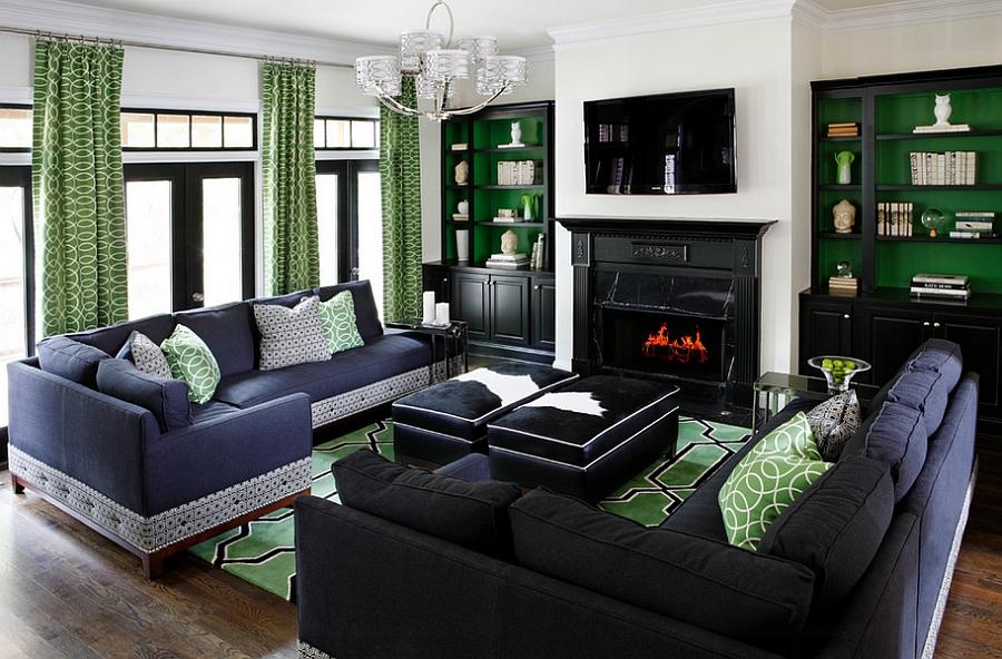 """Phòng khách đẹp nhờ sự kết hợp ăn ý của gam xanh là và """"bạn"""""""