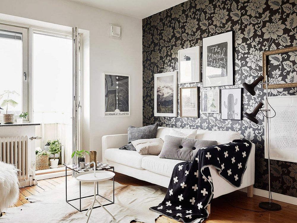 Phòng khách đen trắng cổ điển tinh tế