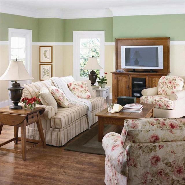 nội thất phòng khách đồng quê đẹp tinh tế