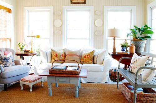 Phòng khách phong cách đồng quê nhẹ nhàng, duyên dáng