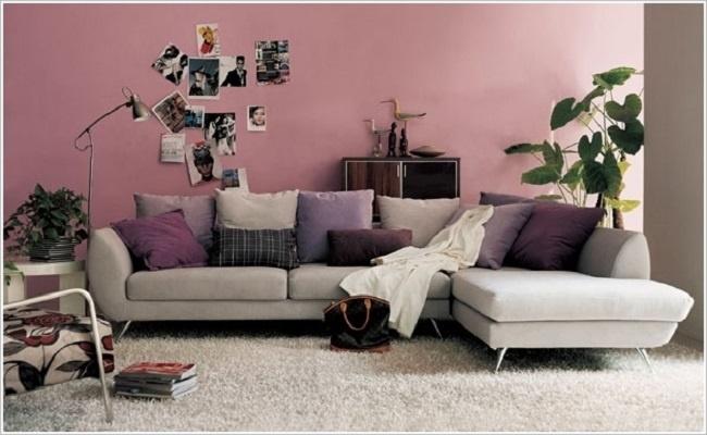 Phòng khách với bức tường hồng