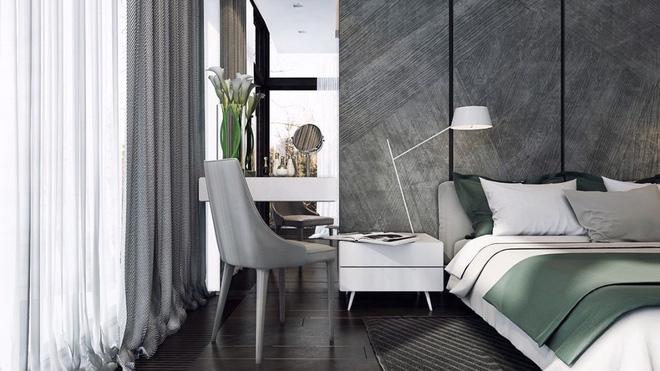 Thiết kế phòng ngủ màu xám nhưng không hề u ám - 03