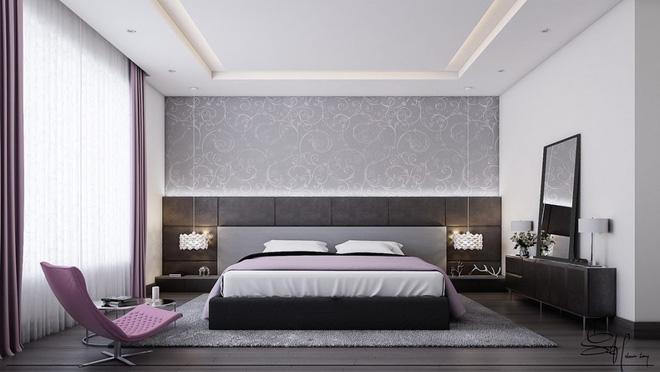 Thiết kế phòng ngủ màu xám nhưng không hề u ám - 04