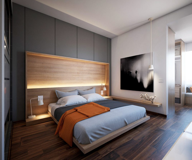Thiết kế phòng ngủ màu xám nhưng không hề u ám - 08