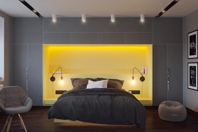 Thiết kế phòng ngủ màu xám nhưng không hề u ám - 09