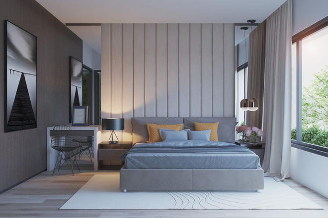Thiết kế phòng ngủ màu xám nhưng không hề u ám - 10