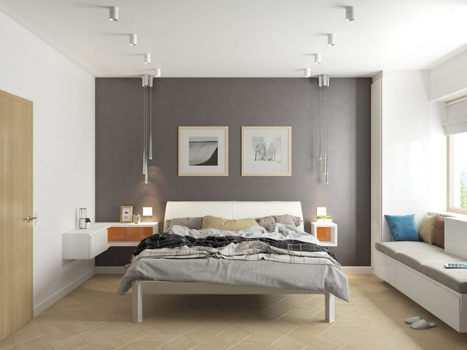 Thiết kế phòng ngủ màu xám nhưng không hề u ám - 11