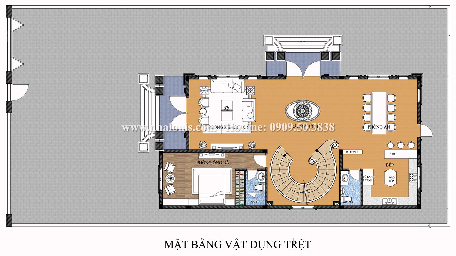 Mặt bằng tầng trệt Mẫu biệt thự 4 tầng phong cách tân cổ điển nổi bật tại Thanh Hóa - 05