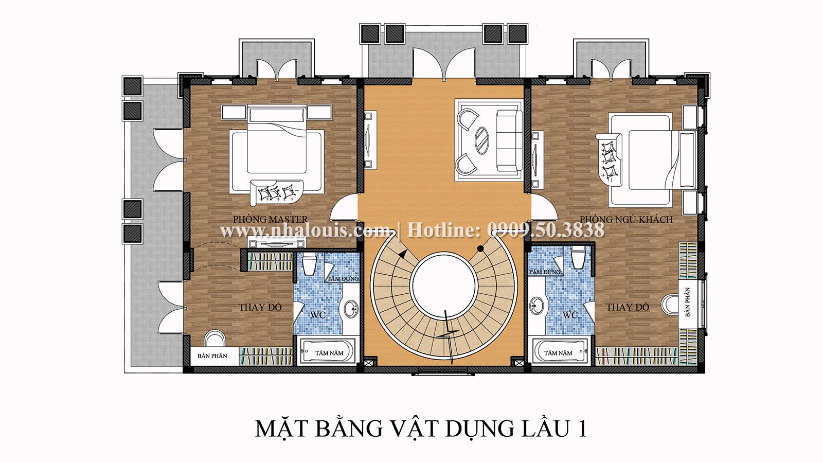 Mặt bằng tầng 1 Mẫu biệt thự 4 tầng phong cách tân cổ điển nổi bật tại Thanh Hóa - 06
