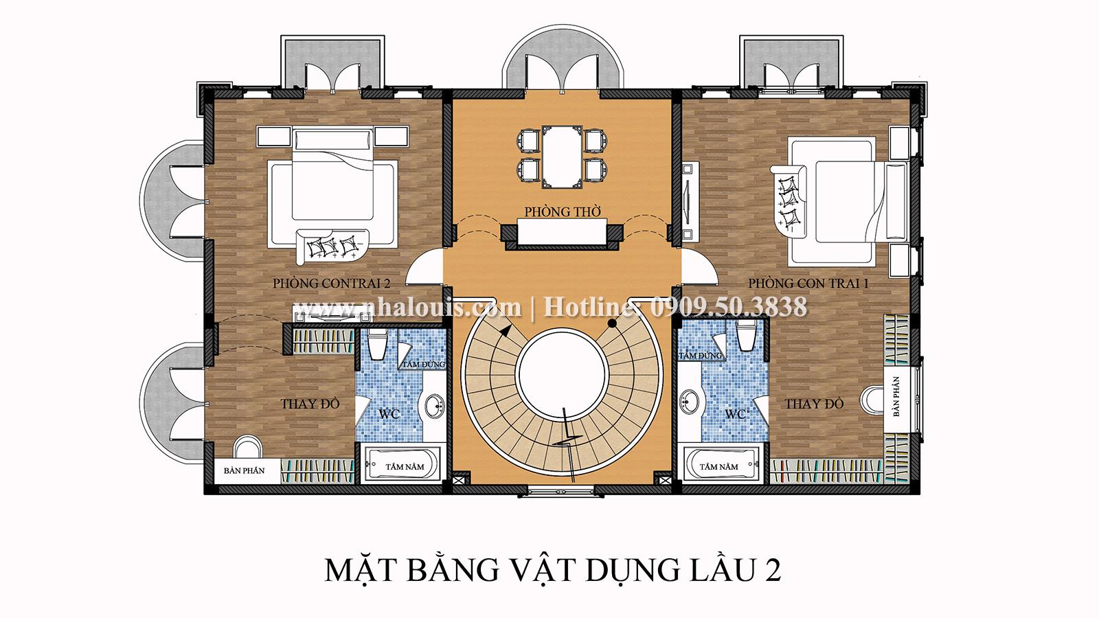 Mặt bằng tầng 2 Mẫu biệt thự 4 tầng phong cách tân cổ điển nổi bật tại Thanh Hóa - 07
