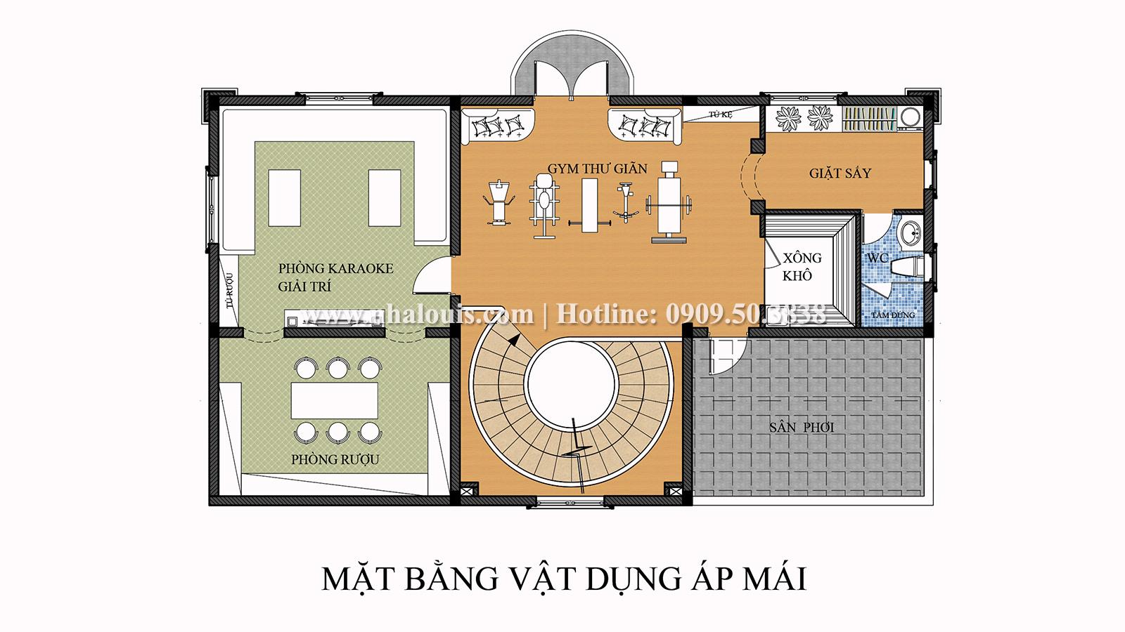 Mặt bằng tầng áp mái Mẫu biệt thự 4 tầng phong cách tân cổ điển nổi bật tại Thanh Hóa - 08