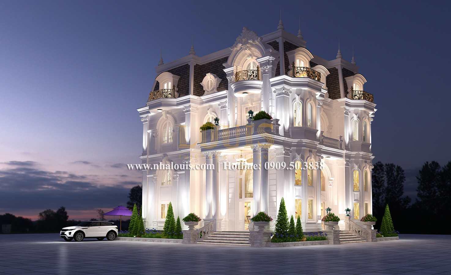 Mặt tiền Mẫu biệt thự kiến trúc Pháp tại Đồng Nai đẹp hoa lệ - 02