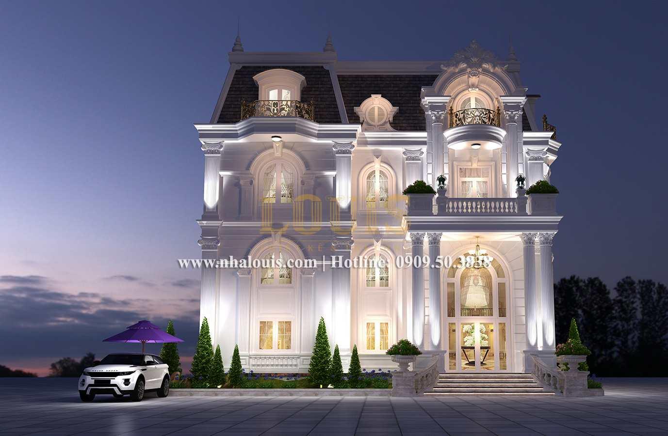 Mặt tiền Mẫu biệt thự kiến trúc Pháp tại Đồng Nai đẹp hoa lệ - 03