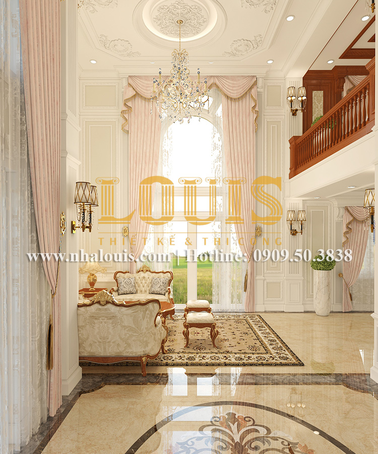 Phòng khách Mẫu biệt thự kiến trúc Pháp tại Đồng Nai đẹp hoa lệ - 07