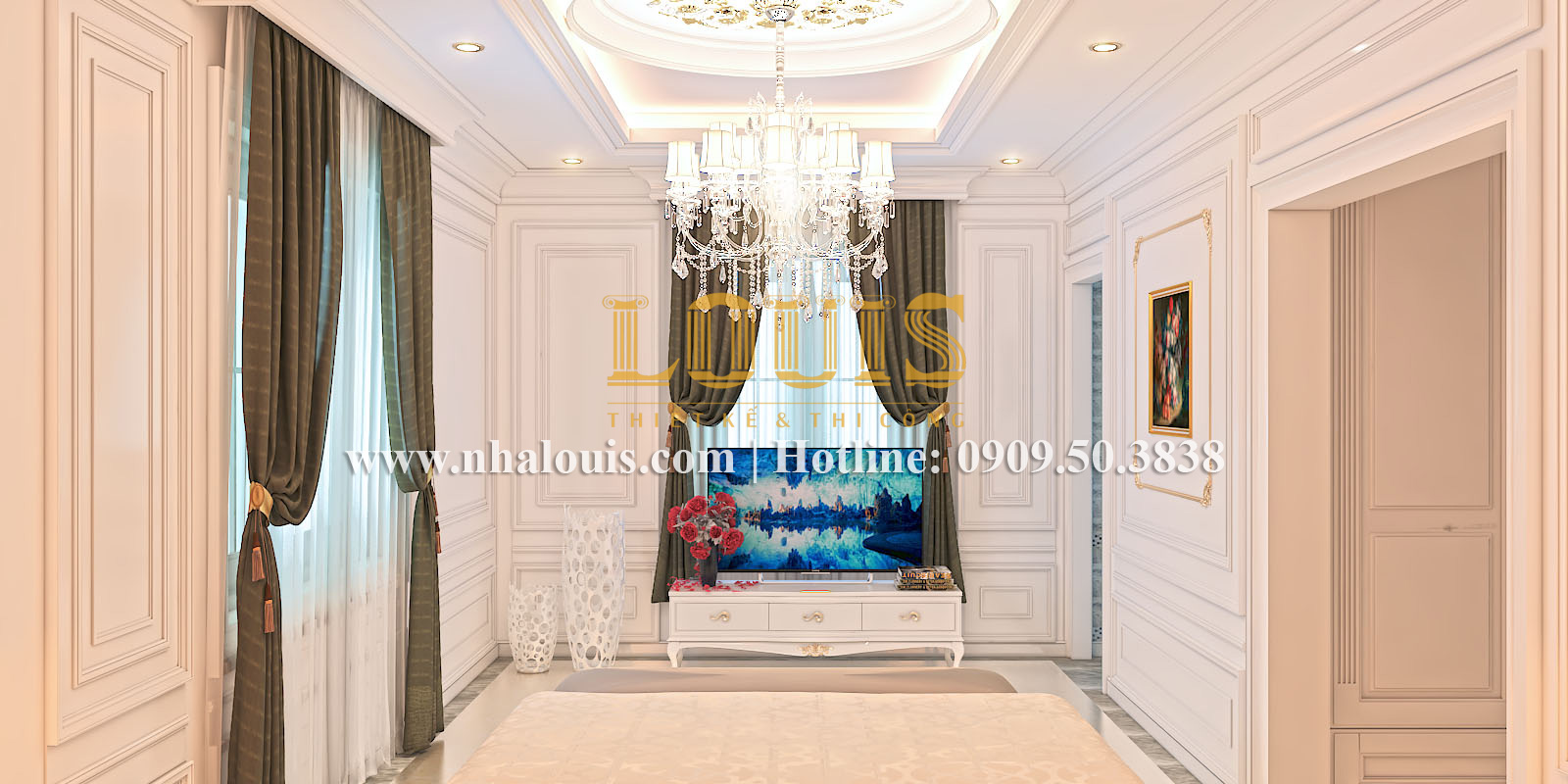 Phòng ngủ Mẫu biệt thự kiến trúc Pháp tại Đồng Nai đẹp hoa lệ - 18