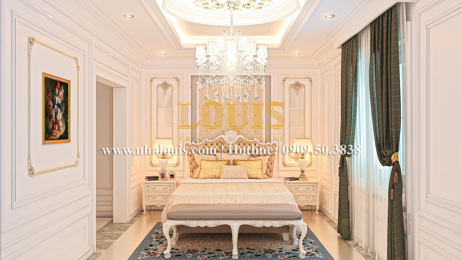 Phòng ngủ Mẫu biệt thự kiến trúc Pháp tại Đồng Nai đẹp hoa lệ - 19