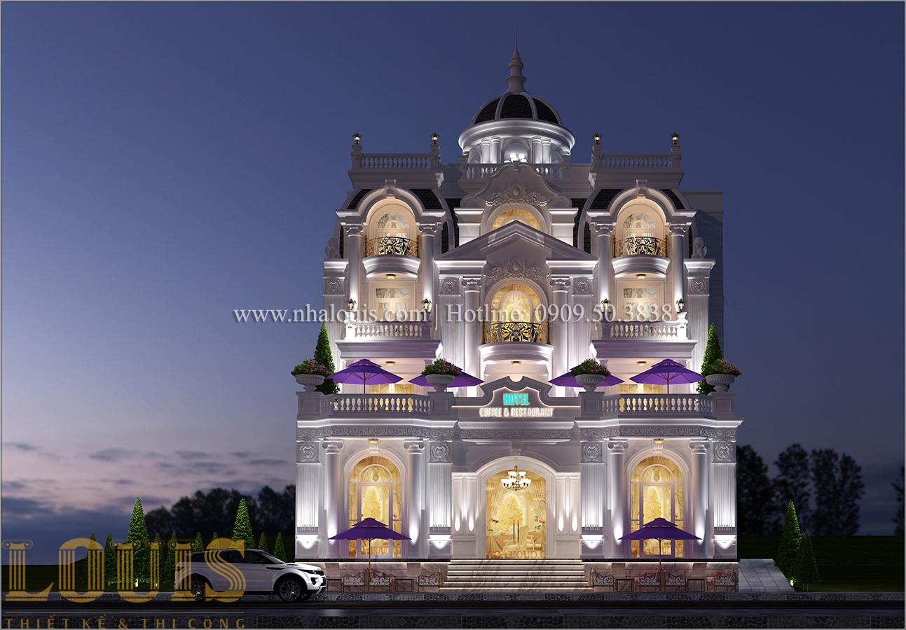 Mặt tiền Mẫu khách sạn phong cách cổ điển kết hợp quán cafe tại An Giang - 01