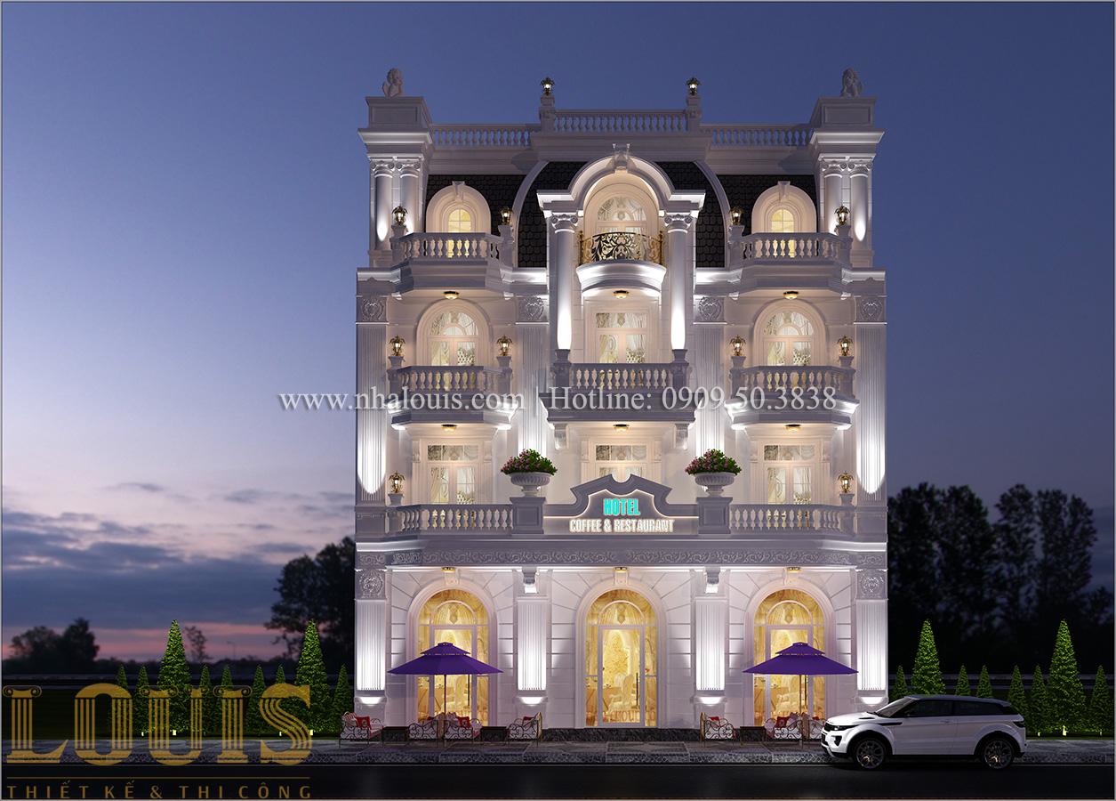 Mặt tiền Mẫu khách sạn phong cách cổ điển kết hợp quán cafe tại An Giang - 03