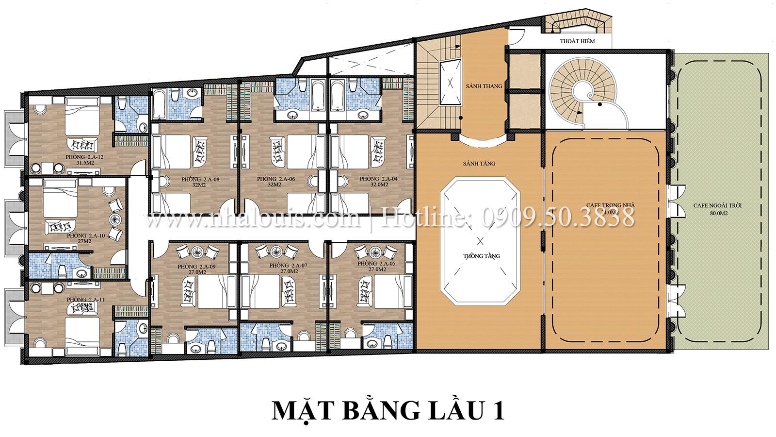 Mặt bằng tầng 1 Mẫu khách sạn phong cách cổ điển kết hợp quán cafe tại An Giang - 06