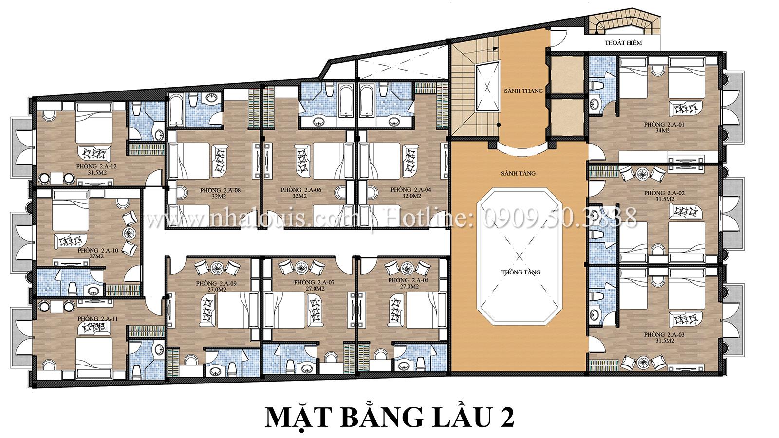 Mặt bằng tầng 2 Mẫu khách sạn phong cách cổ điển kết hợp quán cafe tại An Giang - 07