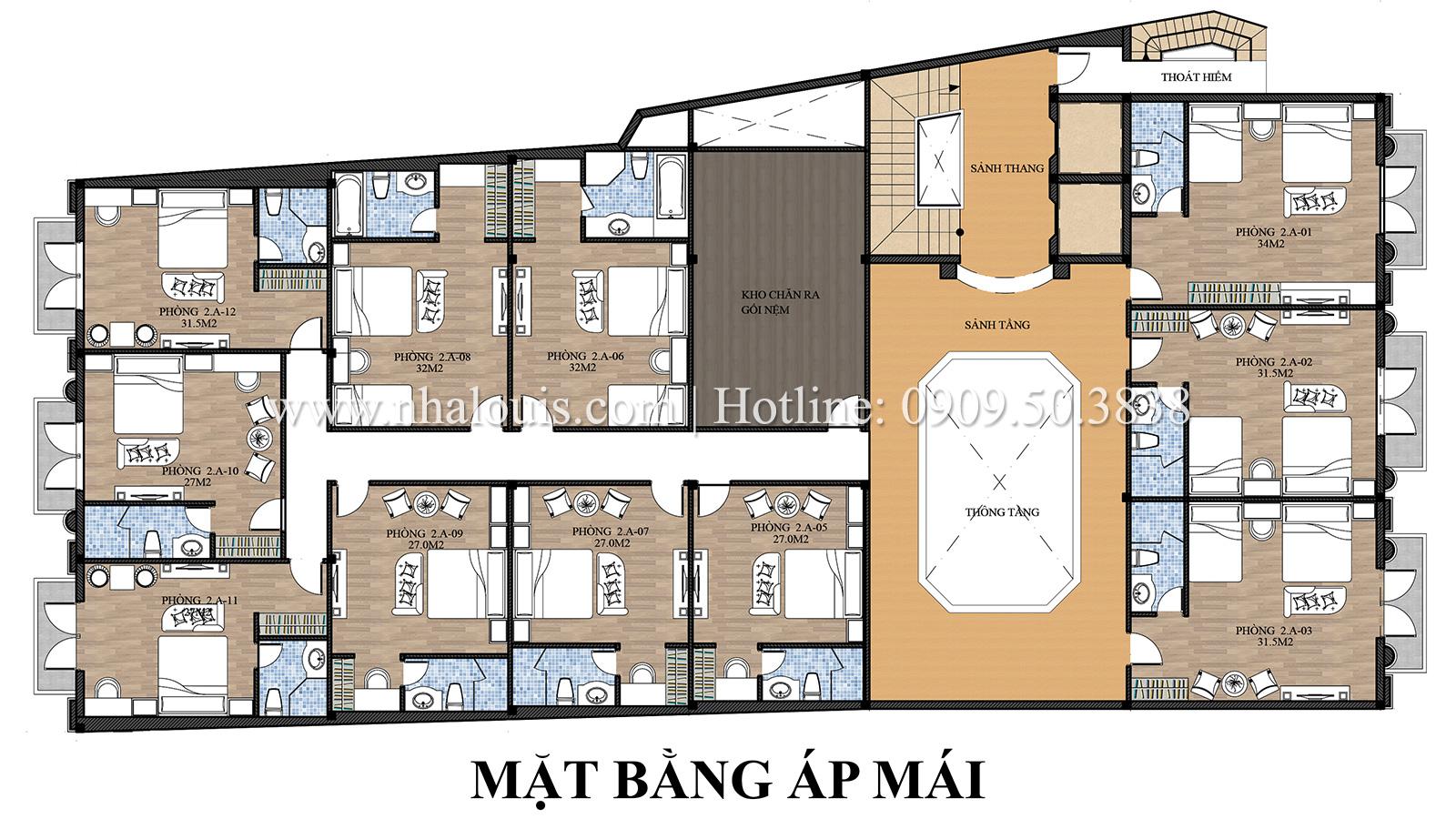 Mặt bằng tầng áp mái Mẫu khách sạn phong cách cổ điển kết hợp quán cafe tại An Giang - 08
