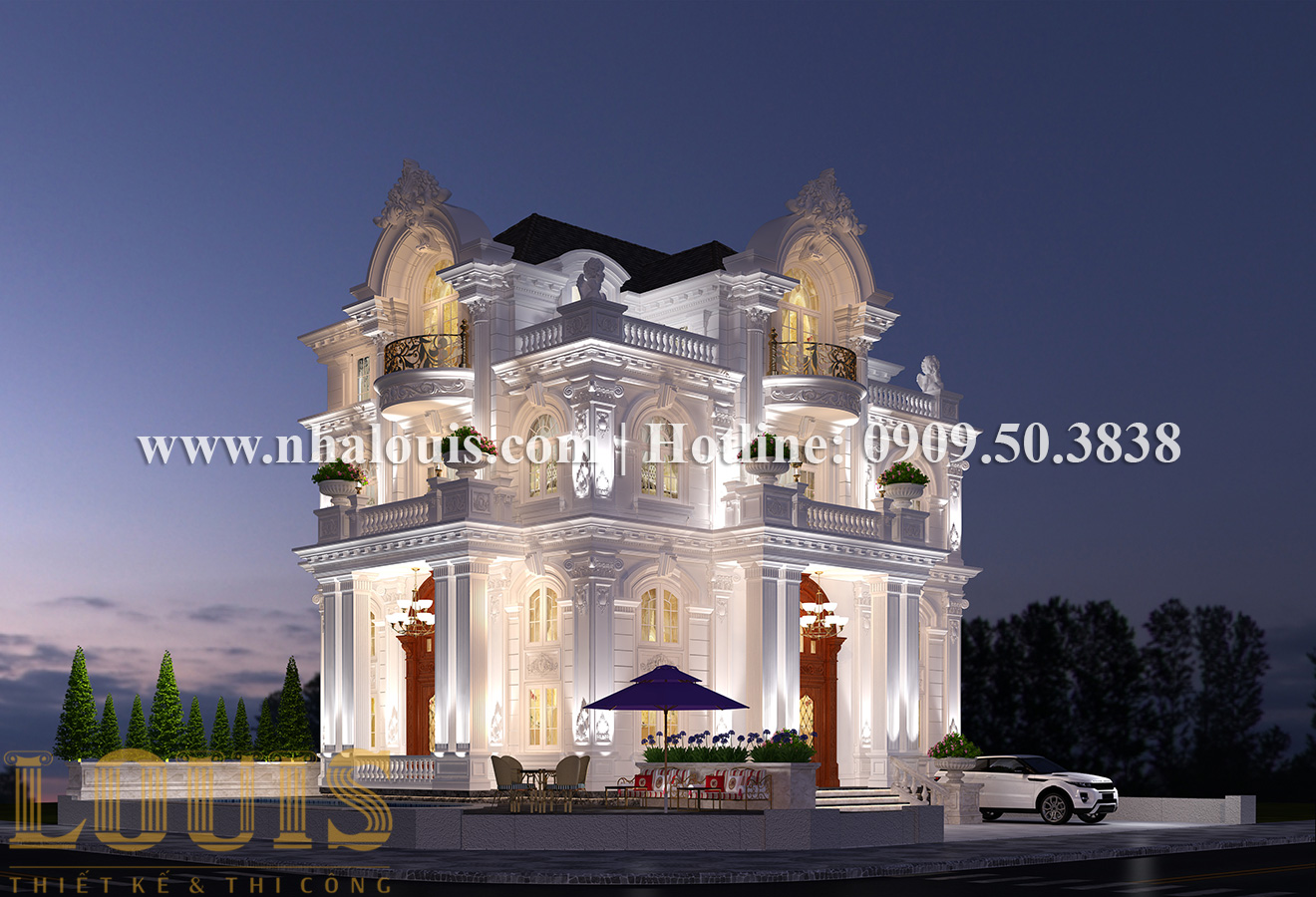 Thiết kế mẫu biệt thự kiểu Pháp 4 tầng tại Quận 9 đẹp kiêu sa - 02