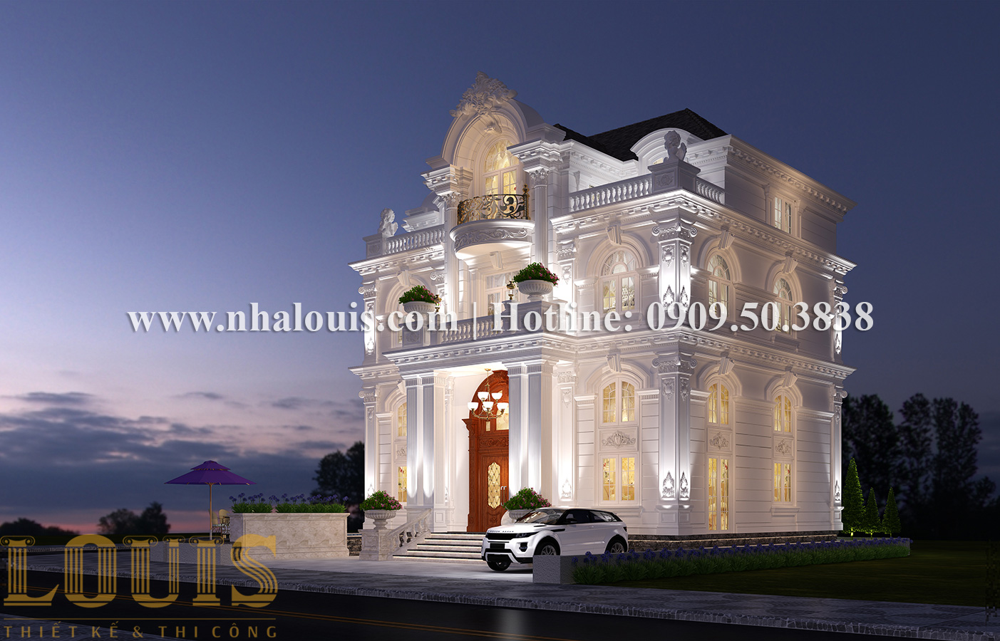 Thiết kế mẫu biệt thự kiểu Pháp 4 tầng tại Quận 9 đẹp kiêu sa - 03