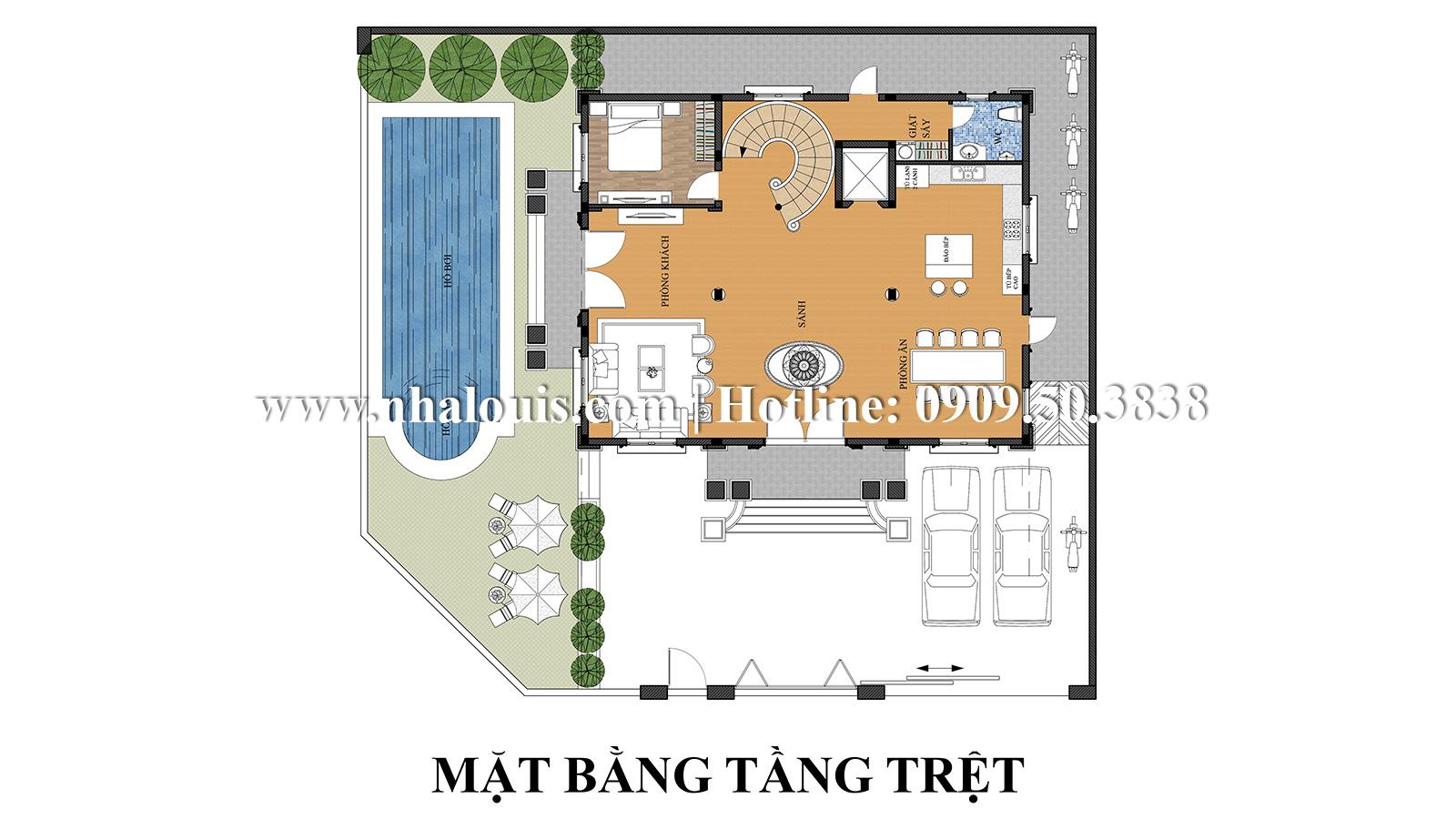 Thiết kế mẫu biệt thự kiểu Pháp 4 tầng tại Quận 9 đẹp kiêu sa - 04
