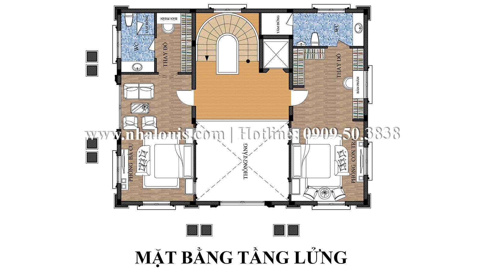 Thiết kế mẫu biệt thự kiểu Pháp 4 tầng tại Quận 9 đẹp kiêu sa - 05