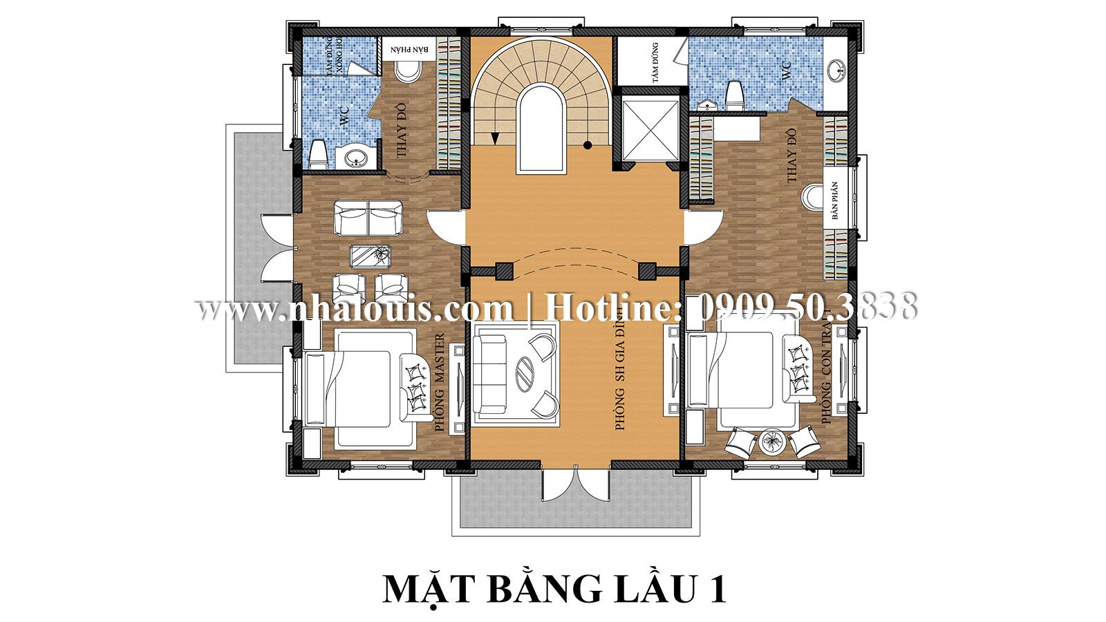 Thiết kế mẫu biệt thự kiểu Pháp 4 tầng tại Quận 9 đẹp kiêu sa - 06