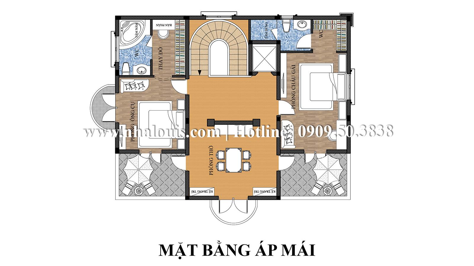 Thiết kế mẫu biệt thự kiểu Pháp 4 tầng tại Quận 9 đẹp kiêu sa - 07