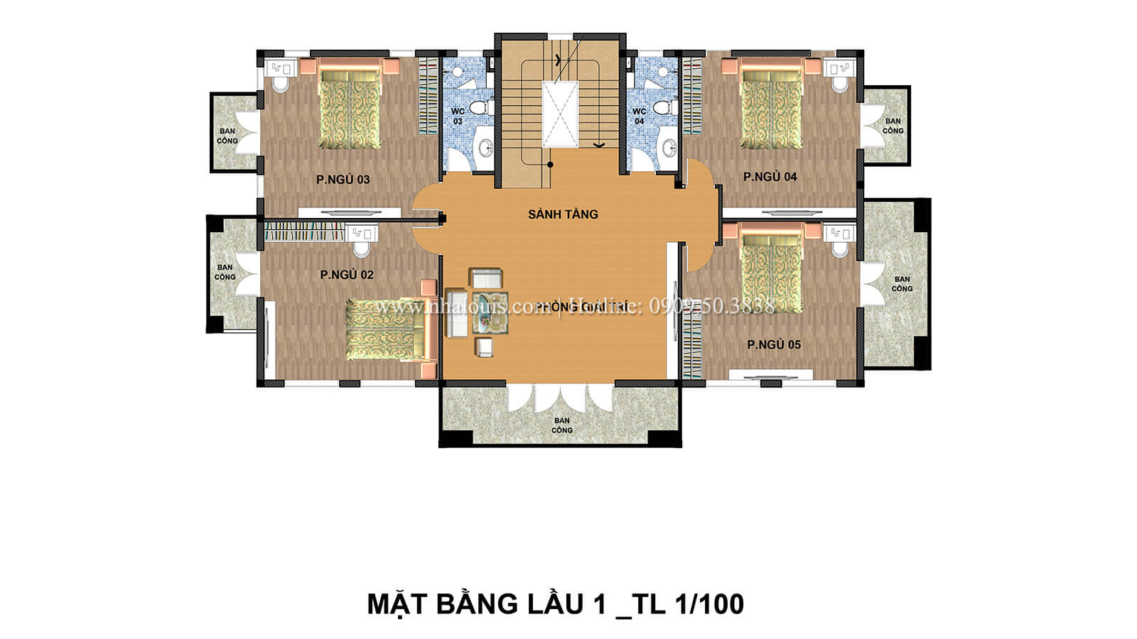Mặt bằng tầng 1 Biệt thự 2 tầng cổ điển chuẩn sang trọng tại Hóc Môn - 06