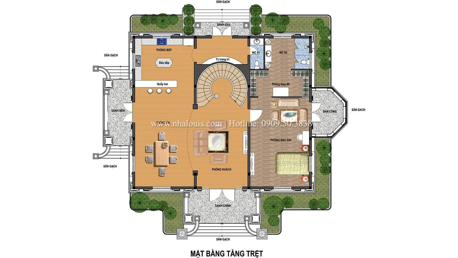 Mặt bằng tầng trệt Biệt thự châu Âu cổ điển chuẩn đẳng cấp tại Kiên Giang - 06