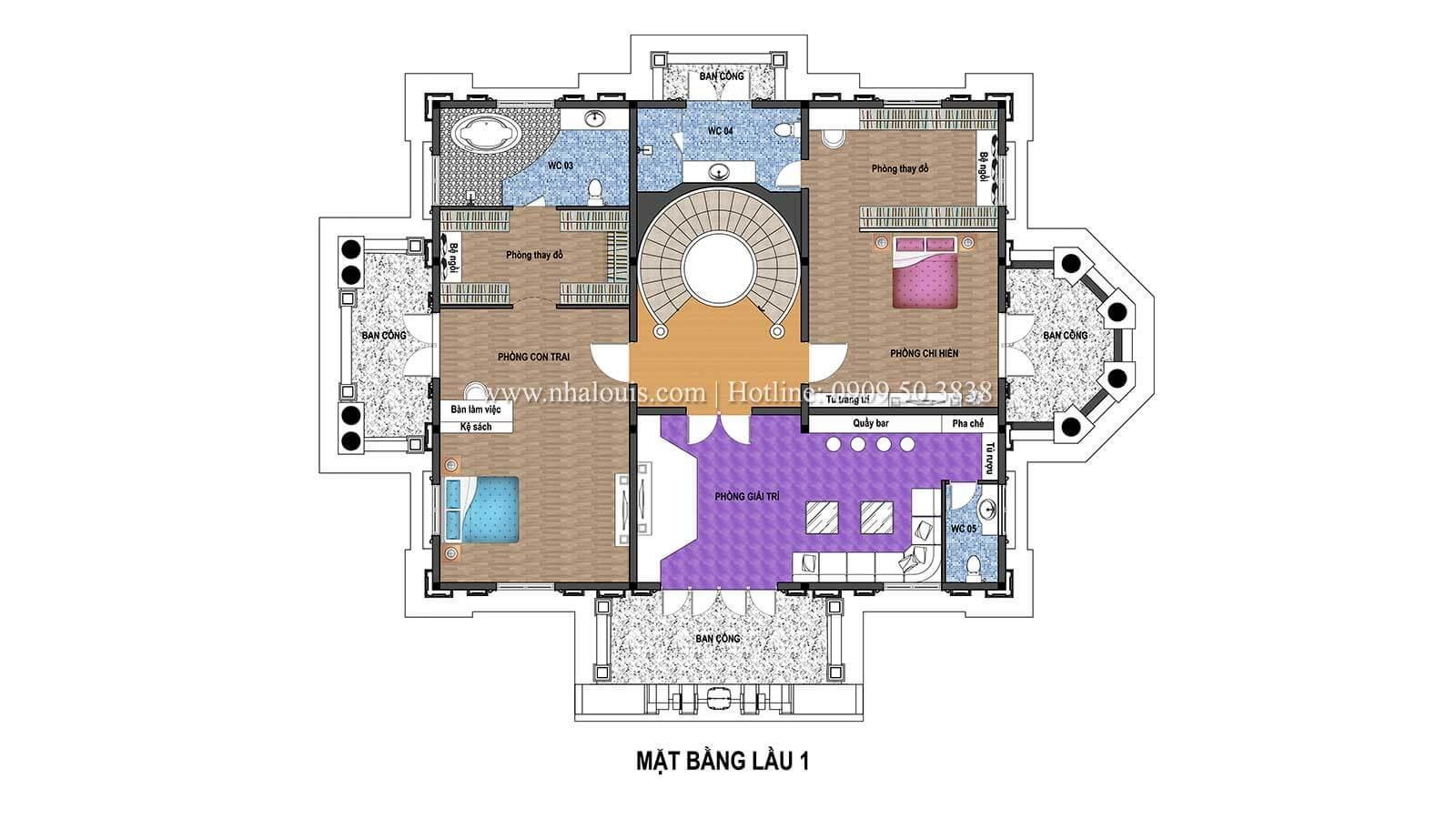 Mặt bằng tầng 1 Biệt thự châu Âu cổ điển chuẩn đẳng cấp tại Kiên Giang - 07