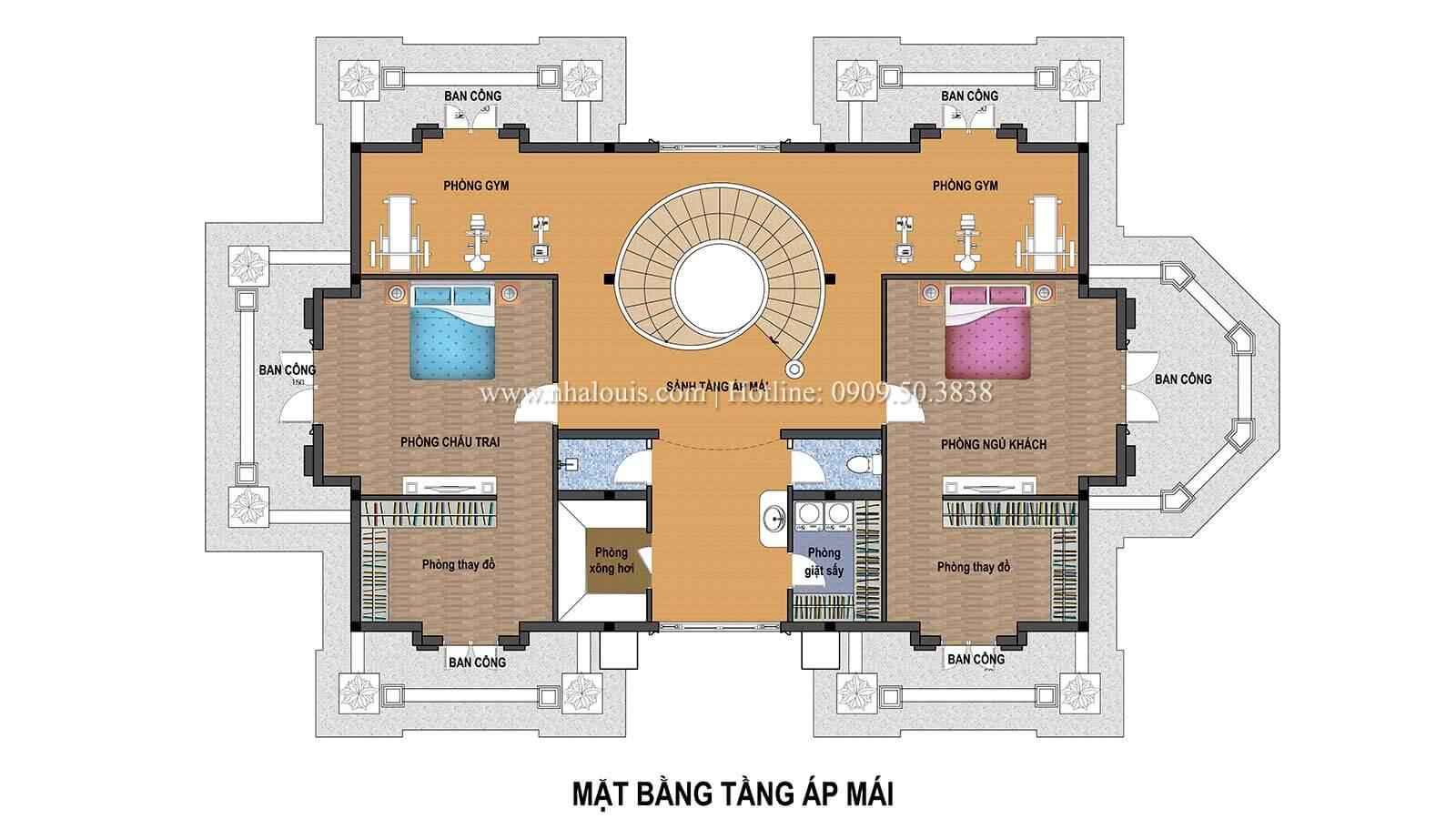 Mặt bằng tầng áp mái Biệt thự châu Âu cổ điển chuẩn đẳng cấp tại Kiên Giang - 09