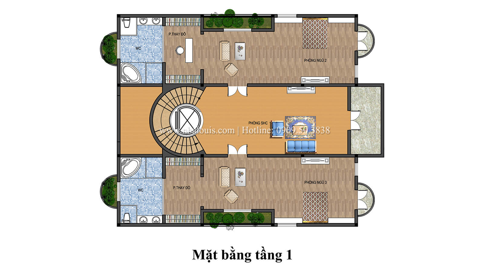 Mặt bằng tầng 1 Biệt thự lâu đài phong cách vương giả tại Khánh Hòa - 06