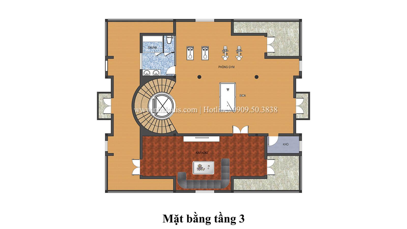 Mặt bằng tầng 3 Biệt thự lâu đài phong cách vương giả tại Khánh Hòa - 08