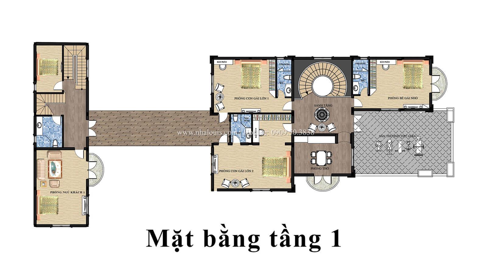 Mặt bằng tầng 1 Mẫu biệt thự 2 tầng đẹp quý phái tại Hội An - 06
