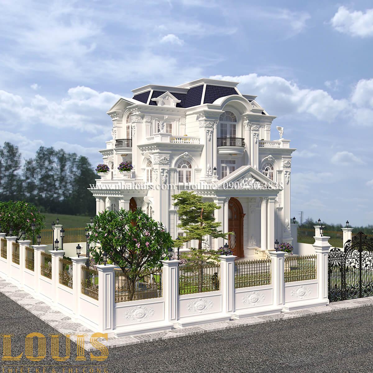 Mặt tiền Thiết kế biệt thự phong cách tân cổ điển đậm chất lãng mạn tại Vĩnh Long - 01