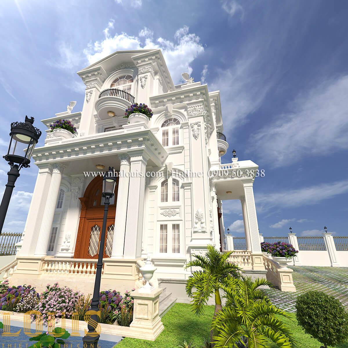 Mặt tiền Thiết kế biệt thự phong cách tân cổ điển đậm chất lãng mạn tại Vĩnh Long - 04