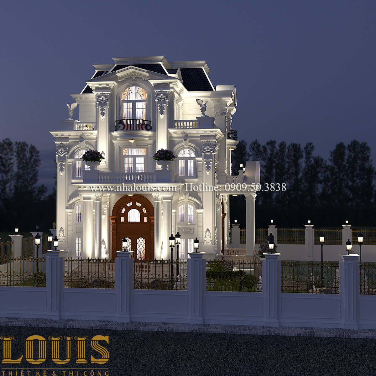 Mặt tiền Thiết kế biệt thự phong cách tân cổ điển đậm chất lãng mạn tại Vĩnh Long - 05